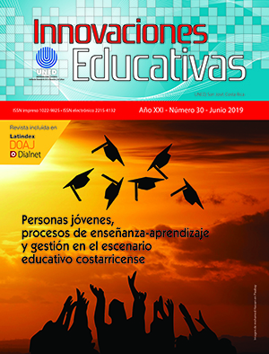Revista Innovaciones Educativas, Volumen 21, Número 30, Junio 2019