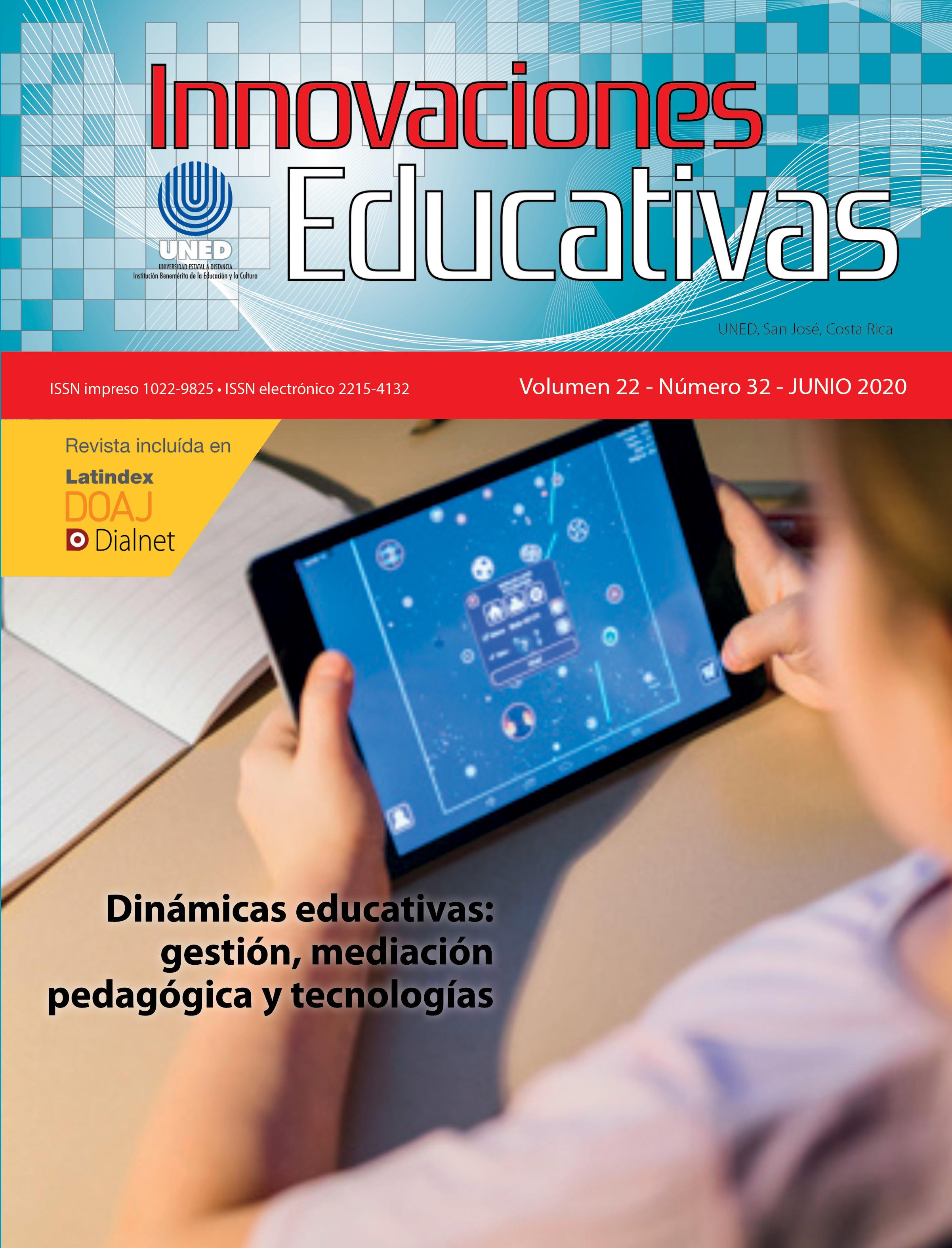 Título: Innovaciones Educativas, Imagen persona con dispositivo electrónico móvil, Titulo: Dinamicas educativas gestión mediación pedagógica y tecnologías